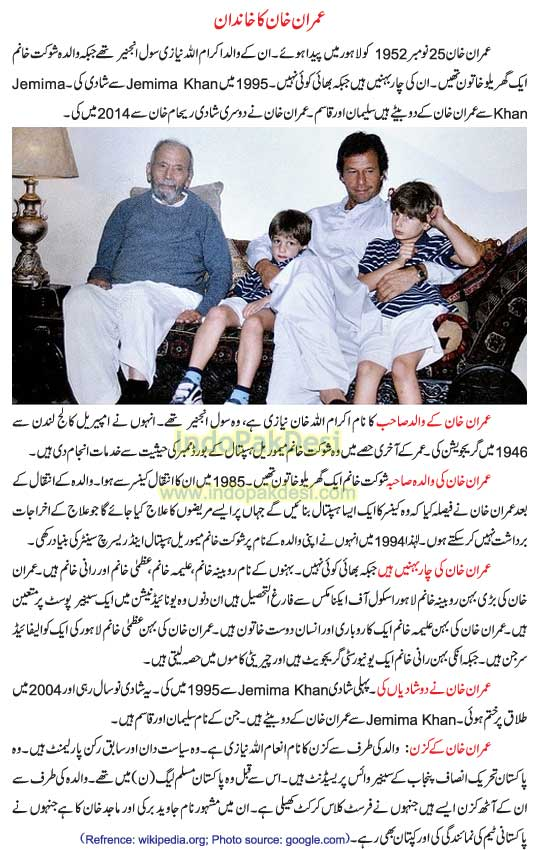 Imran Khan Family and Relatives: Father Mother Sisters Wife Sons Cousins