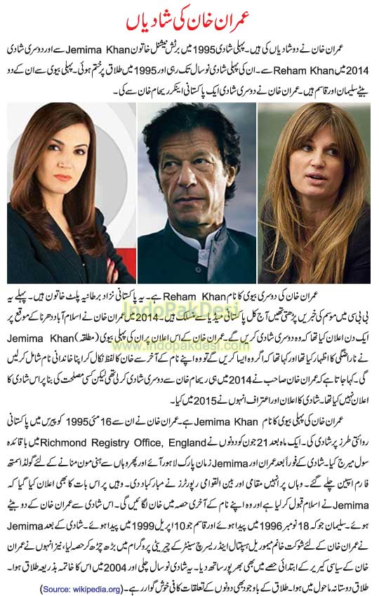 Imran Khan Marriages And Wives: Reham Khan and Jemima Khan